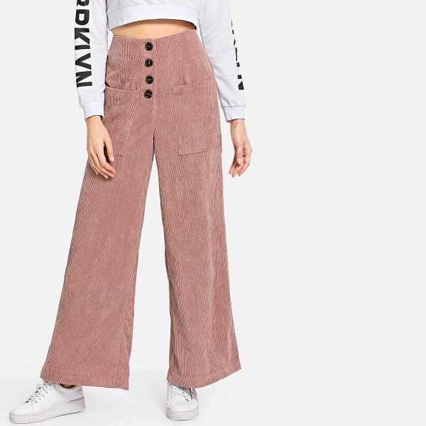Button Fly Pocket Front Corduroy Pants - Shein - GOOFASH