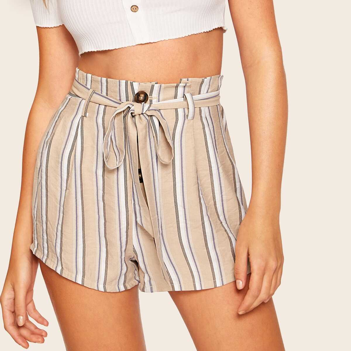 Button Front Belted Striped Paperbag Shorts - Shein - GOOFASH