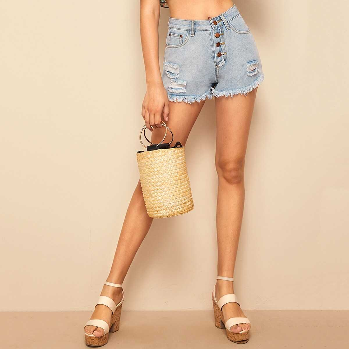 Buttoned Fly Bleach Wash Ripped Denim Shorts - Shein - GOOFASH