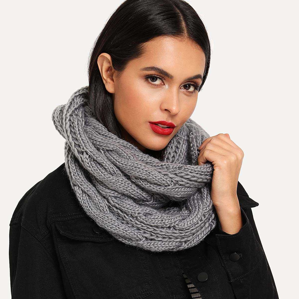 Cable Knit Infinity Scarf - Shein - GOOFASH
