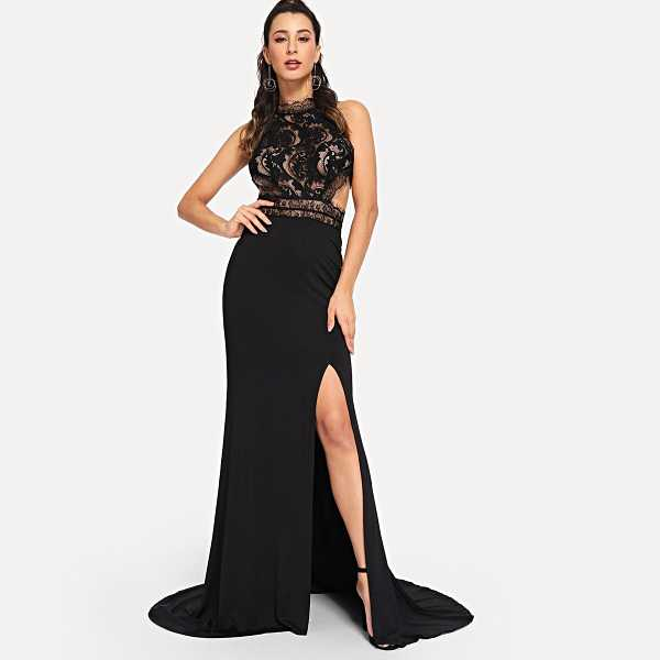 Caged Back Lace Bodice Split Prom Dress - Shein - GOOFASH