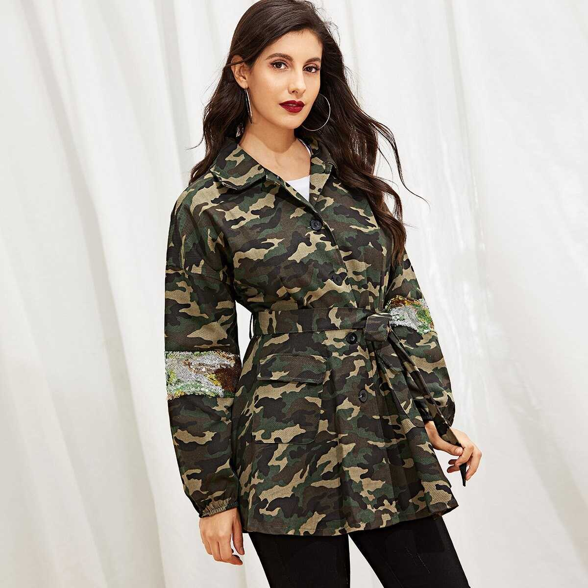 Camo Contrast Sequin Belted Drop Shoulder Outerwear - Shein - GOOFASH