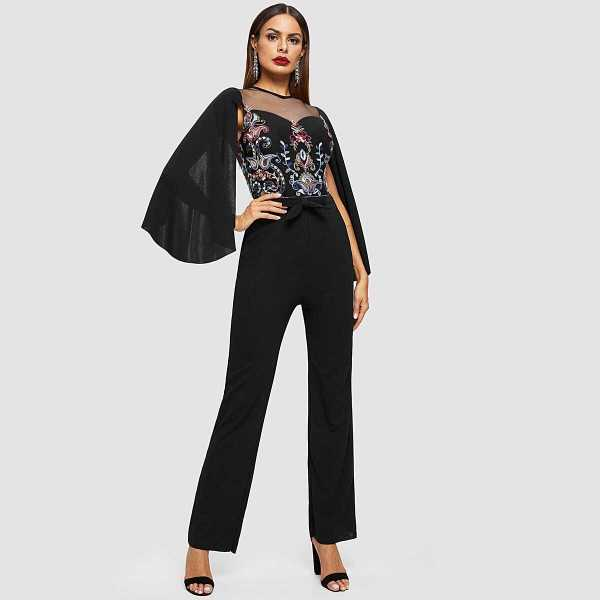 Cape Sleeve Mesh Insert Embroidered Tailored Jumpsuit - Shein - GOOFASH