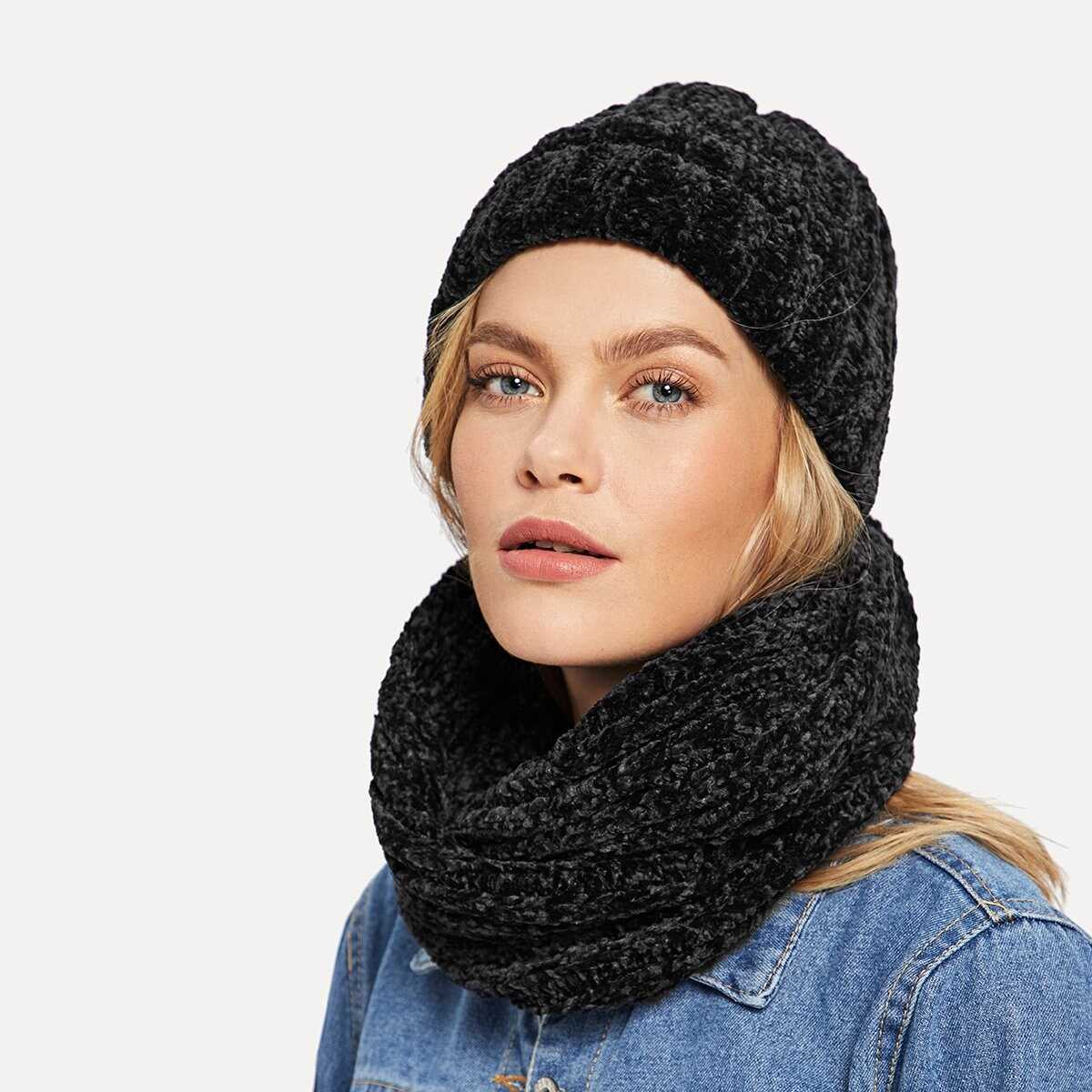Chenille Solid Hat & Infinity Scarf 2pcs - Shein - GOOFASH