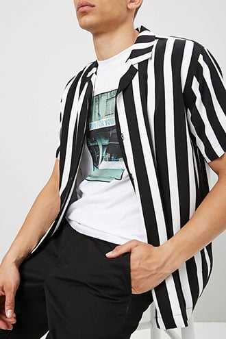 Classic Fit Striped Shirt at Forever 21 Black/white - GOOFASH