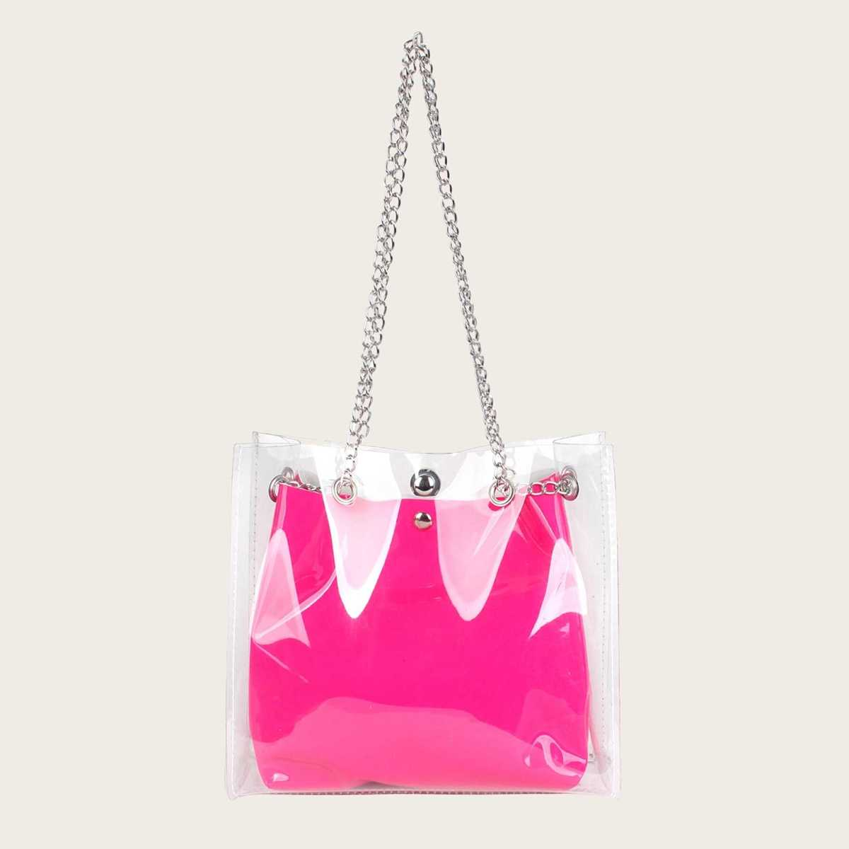 Clear Tote Bag With Inner Pouch - Shein - GOOFASH
