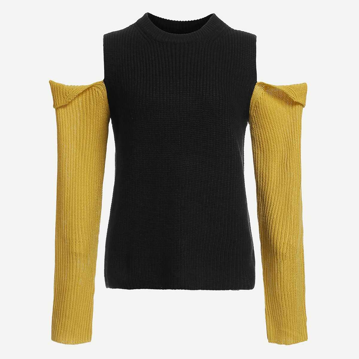 Cold Shoulder Slim Fitted Sweater - Shein - GOOFASH