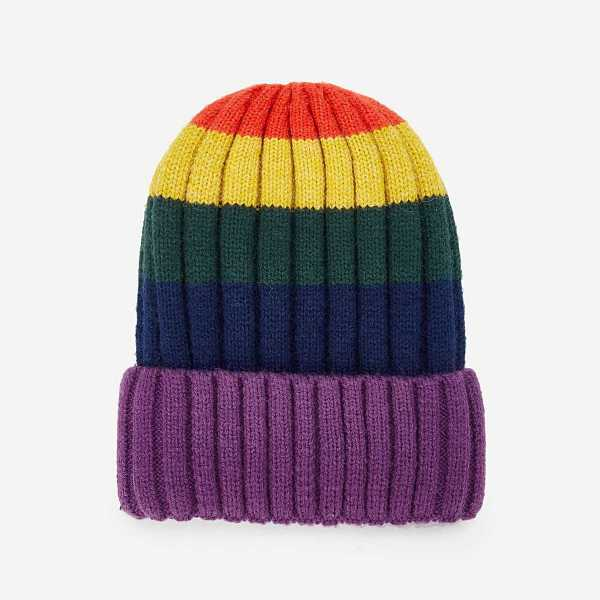 Color Block Beanie Hat - Shein - GOOFASH