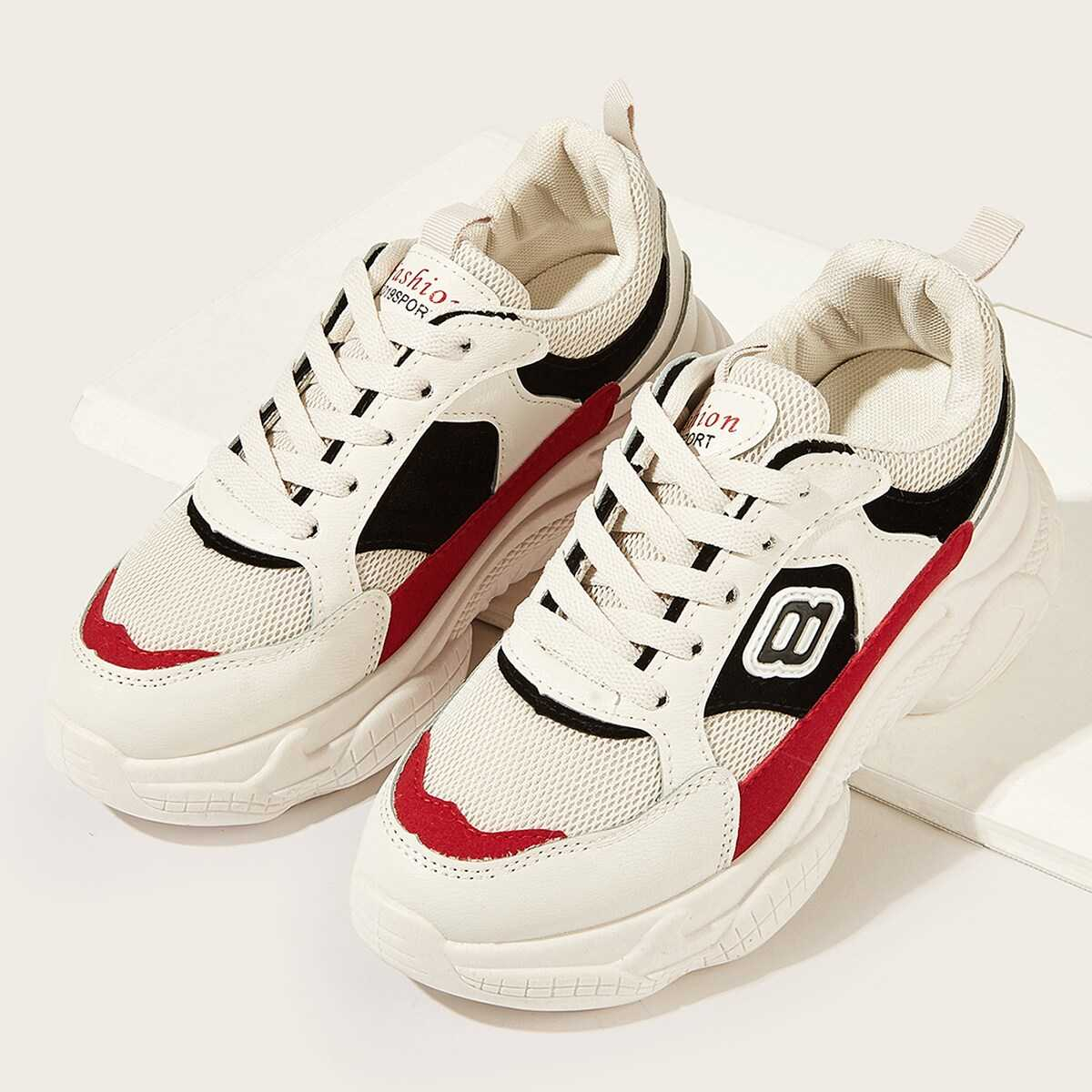 be2dca9485 Colorblock Lace-up Sneakers Shein   GOOFASH SHOP