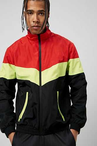 Colorblock Zippered Windbreaker at Forever 21  Black/red - GOOFASH
