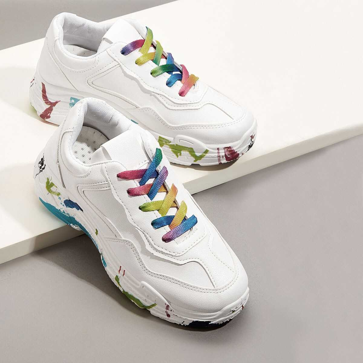 Colorful Lace-up Chunky Sneakers Shein