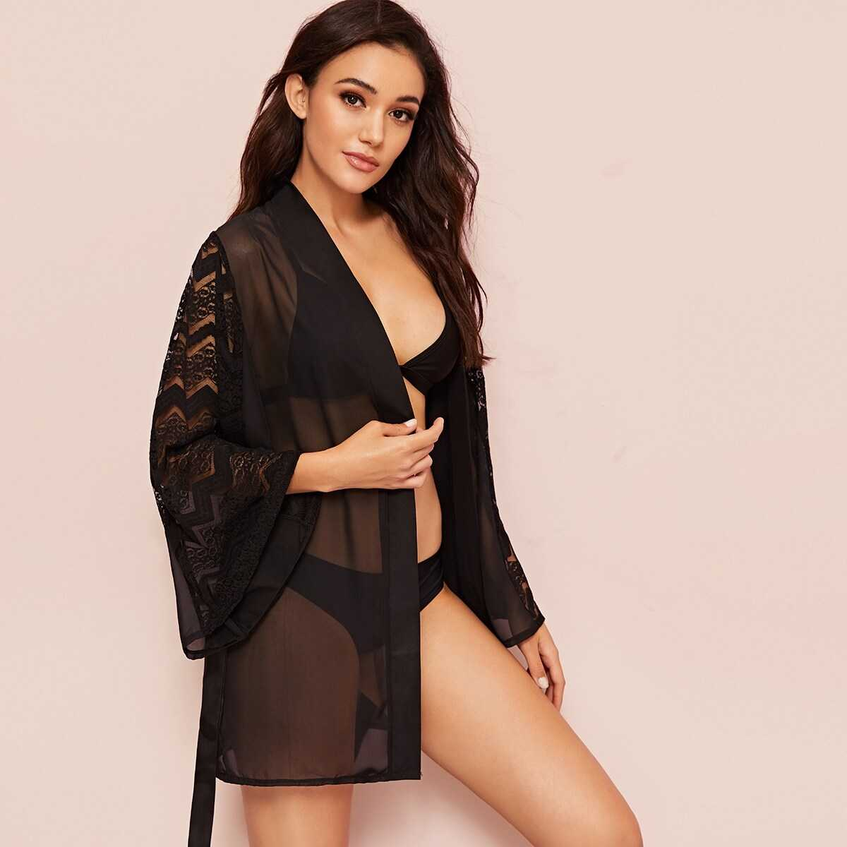 Contrast Lace Belted Sheer Robe Without Lingerie Set - Shein - GOOFASH