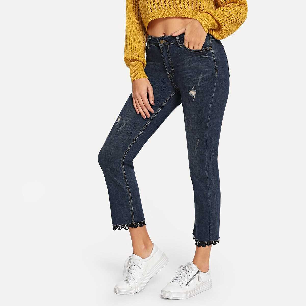 Contrast Lace Ripped Jeans - Shein - GOOFASH