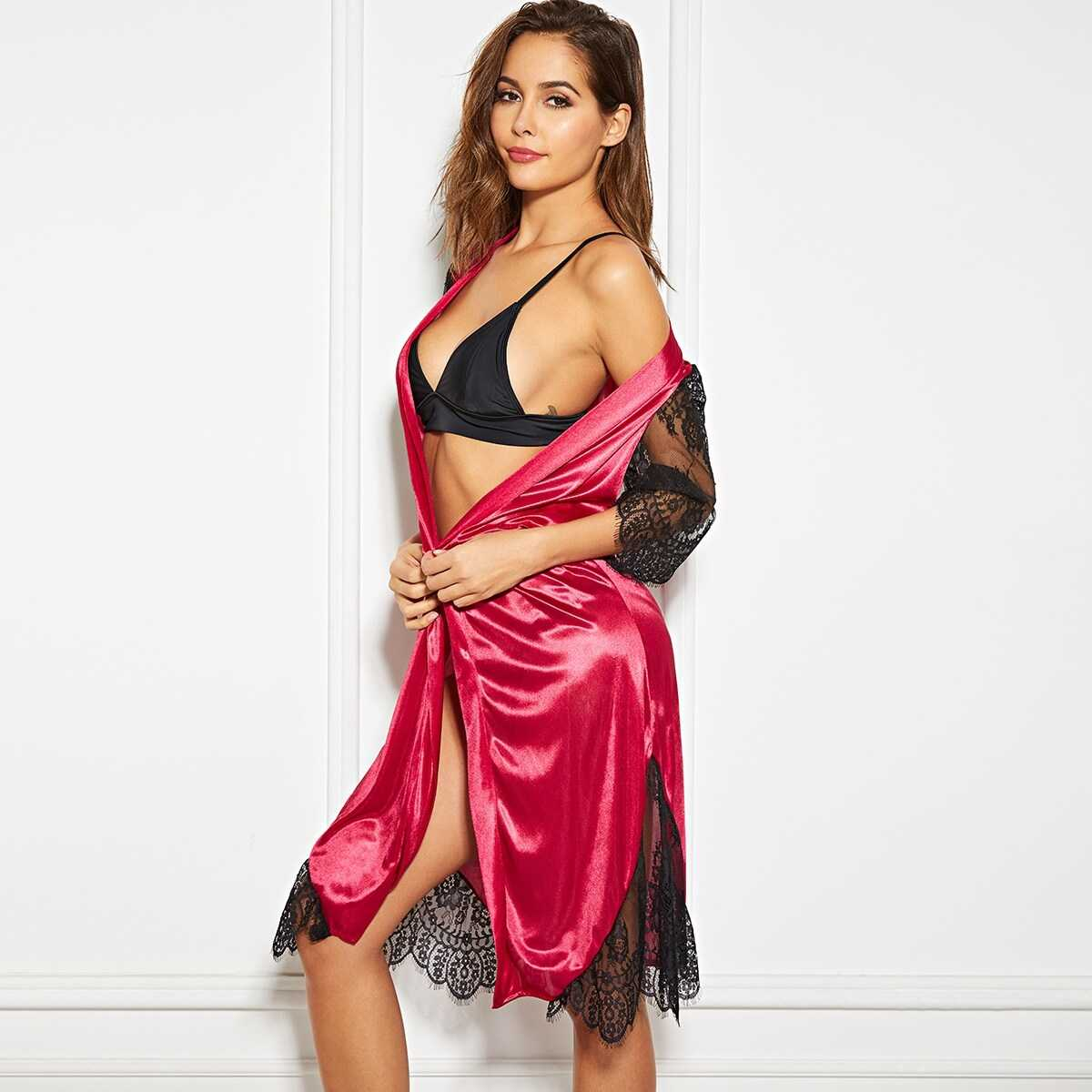 Contrast Lace Satin Robe With Thong & Belt - Shein - GOOFASH