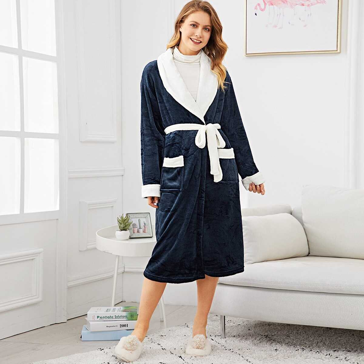 Contrast Side Self Belted Fluffy Robe - Shein - GOOFASH