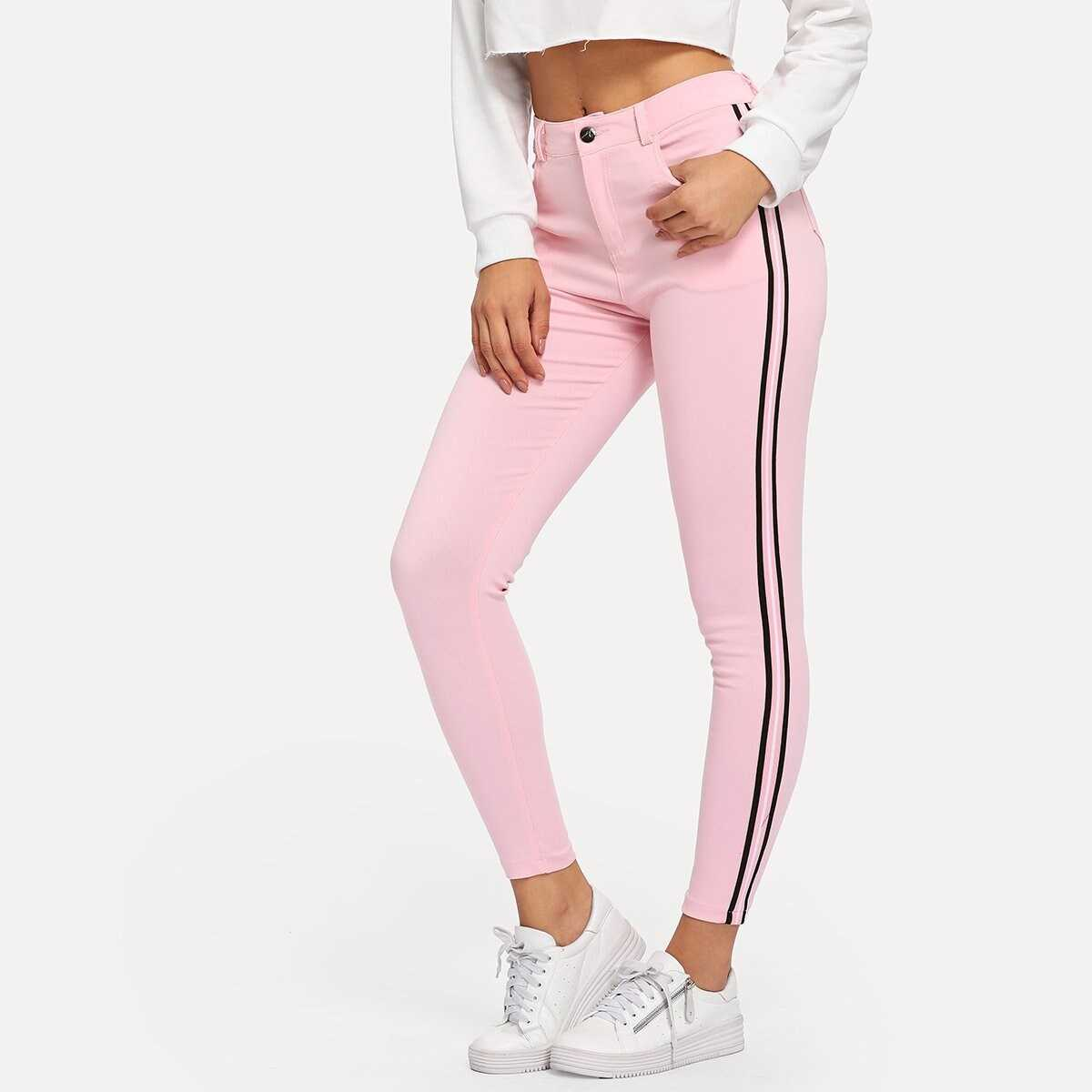 Contrast Taped Side Jeans - Shein - GOOFASH