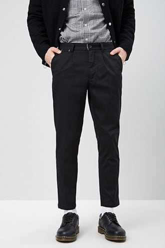Cropped Slim-Fit Chino Pants at Forever 21  Black - GOOFASH