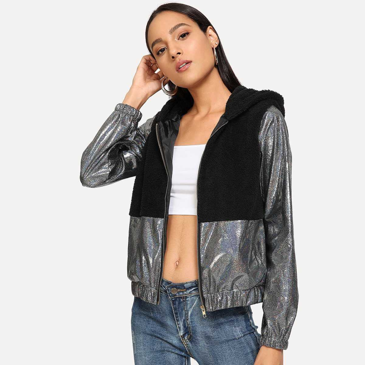 Cut And Sew Panel Hooded Jacket - Shein - GOOFASH