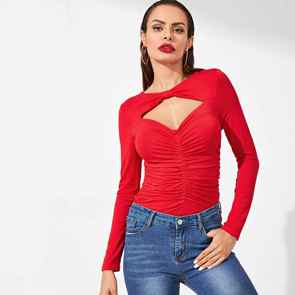 Cut Out Front Ruched Fitted Tee - Shein - GOOFASH