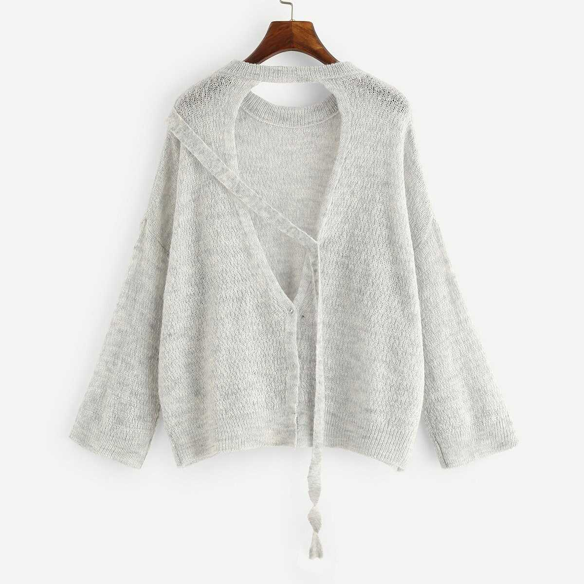 Cut Out Front Sweater Coat - Shein - GOOFASH