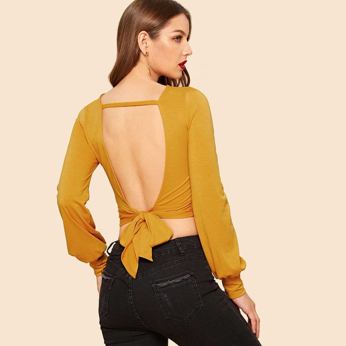 Cut Out Knot Back Lantern Sleeve Crop Tee - Shein - GOOFASH