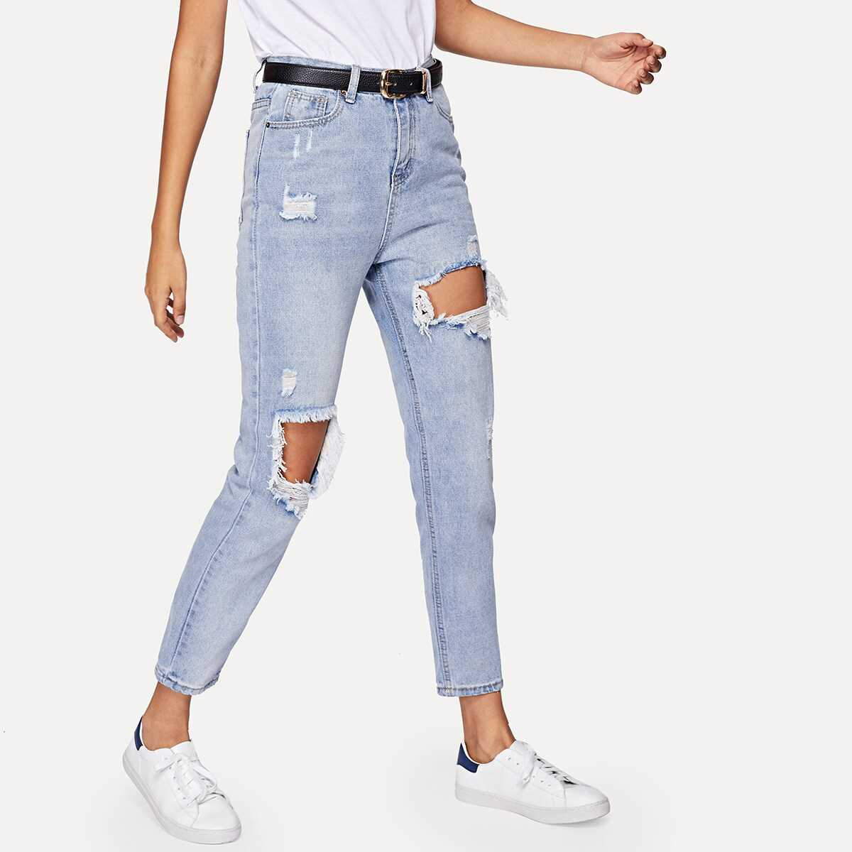 Cut-out Ripped Jeans - Shein - GOOFASH