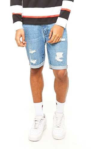 Distressed Denim Shorts at Forever 21 Denim Washed - GOOFASH