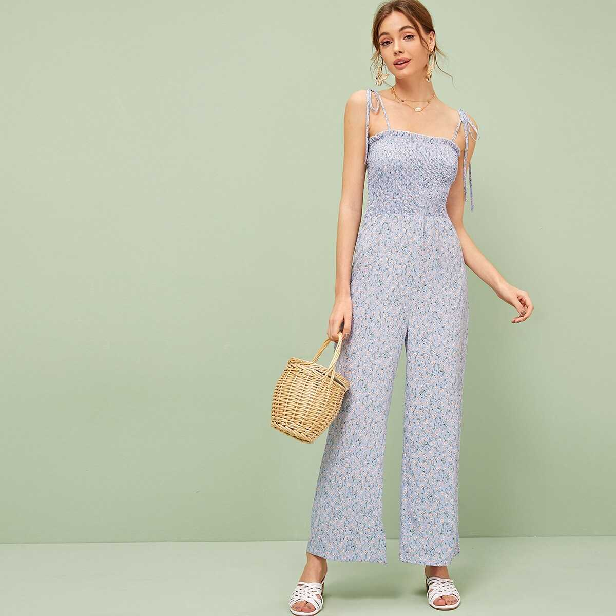 f86d073ccb Ditsy Floral Knot Strap Ruffle Trim Shirred Jumpsuit Shein | GOOFASH ...