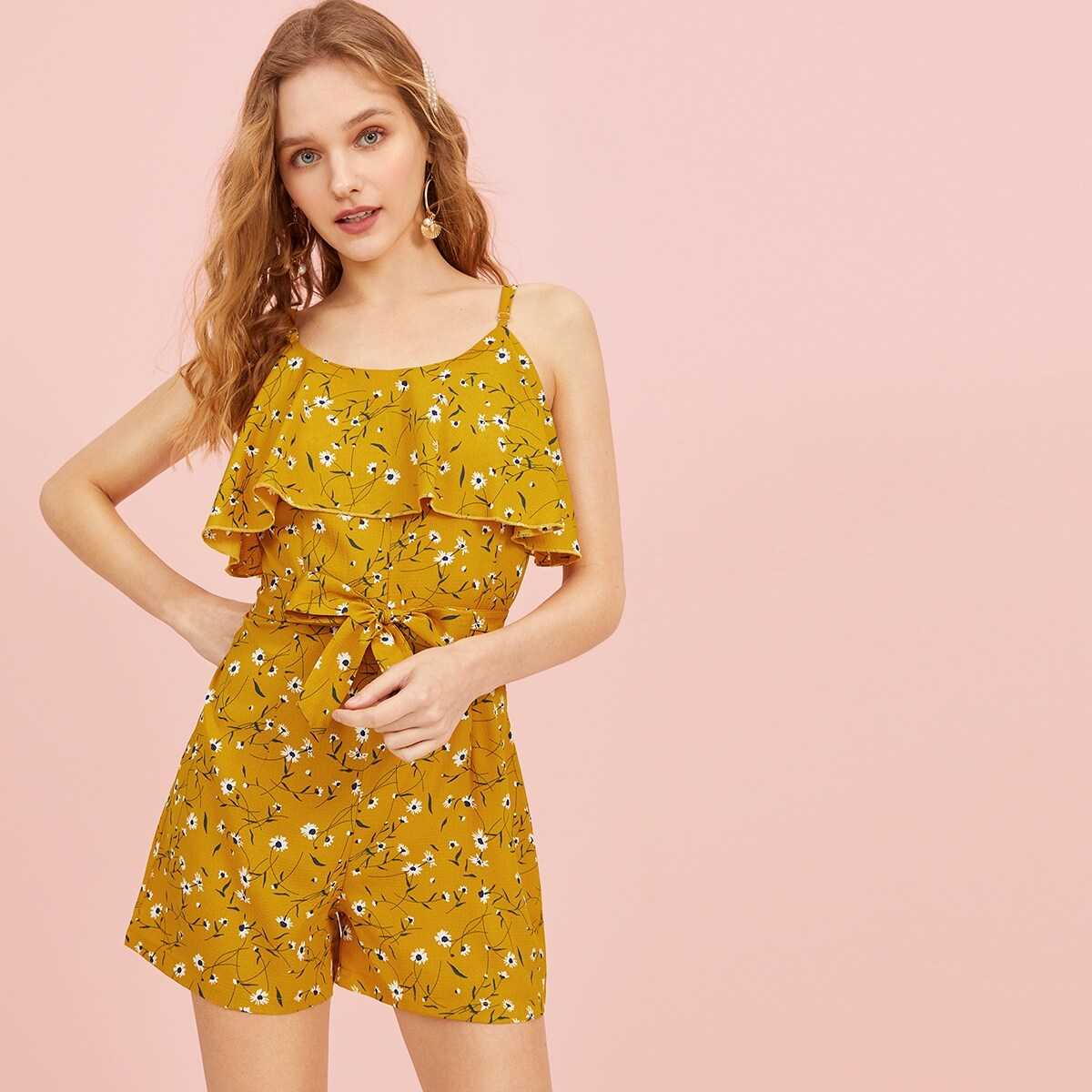 Ditsy Floral Print Belted Cami Jumpsuit - Shein - GOOFASH