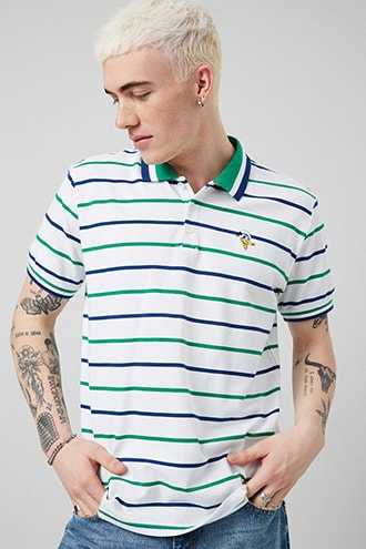Donald Duck Striped Polo at Forever 21 White/blue - GOOFASH
