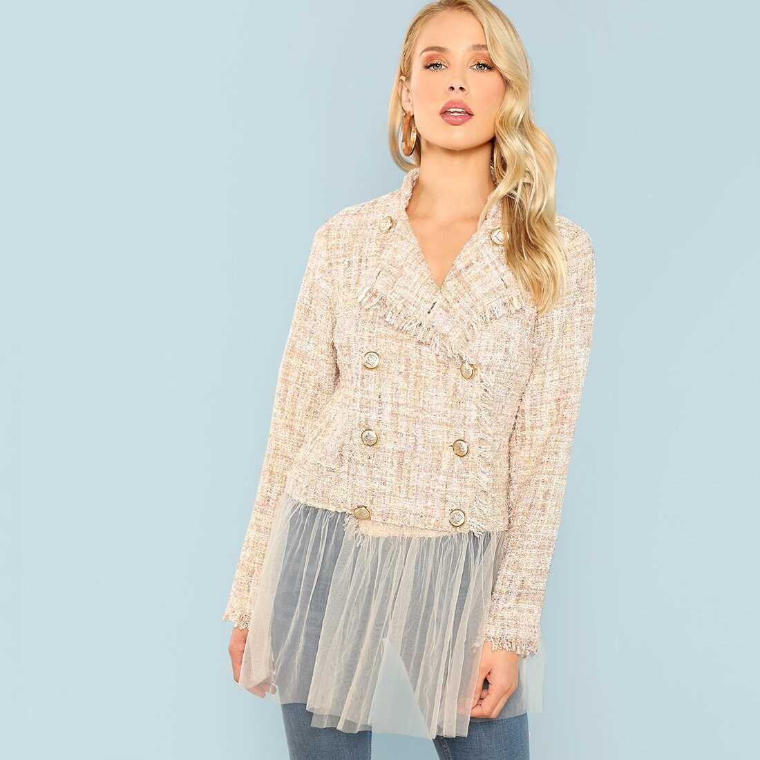 Double Breasted Collar Jacket - Shein - GOOFASH