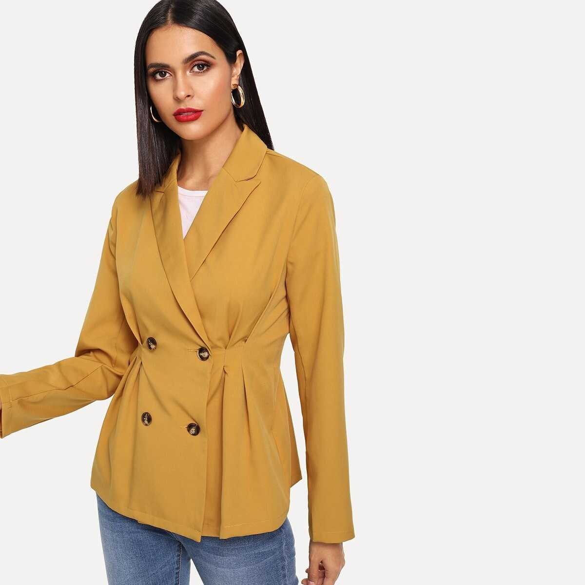 Double Breasted Fold Pleat Detail Blazer - Shein - GOOFASH