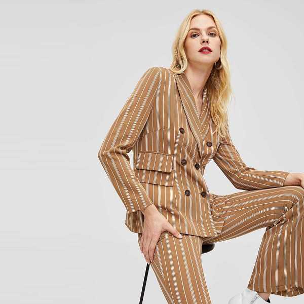 Double Breasted Placket Striped Blazer - Shein - GOOFASH