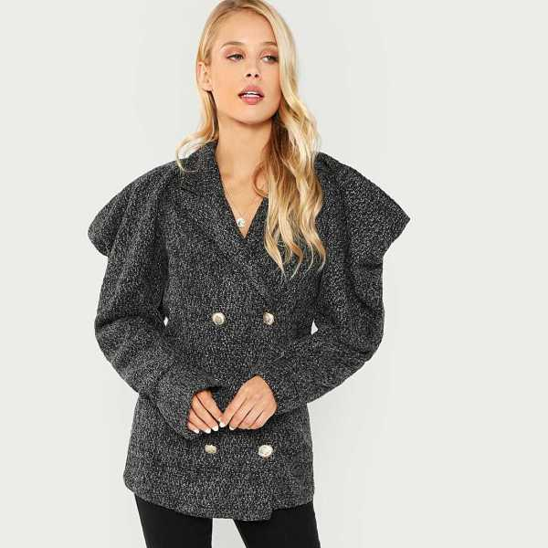 Double Button Notched Coat - Shein - GOOFASH