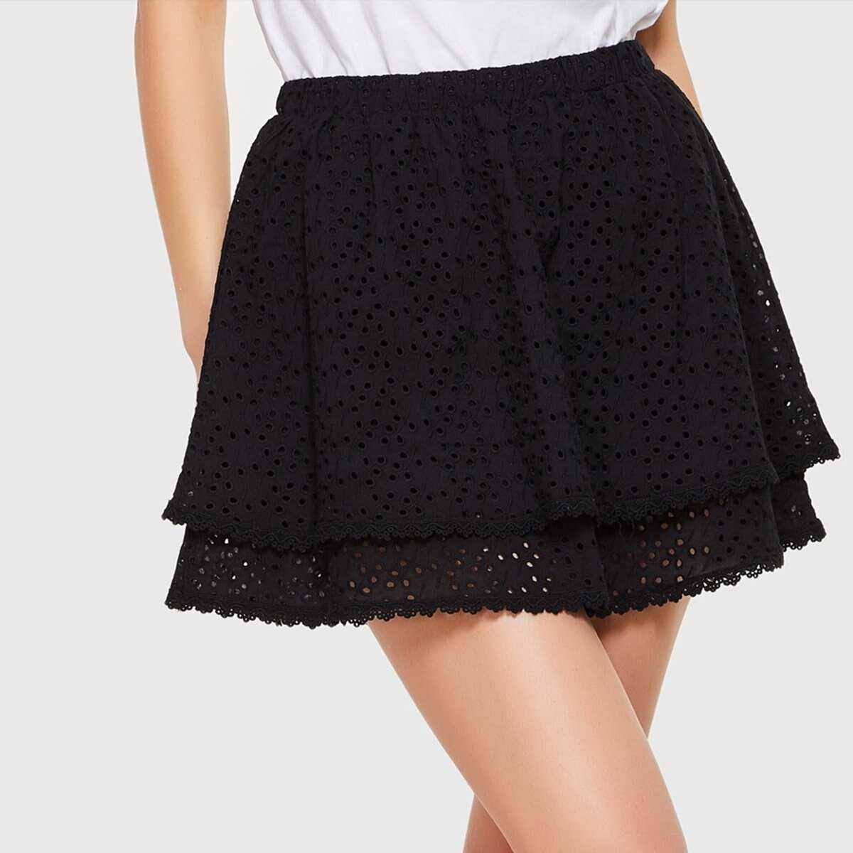 Double Layer Eyelet Embroidered Skirt - Shein - GOOFASH