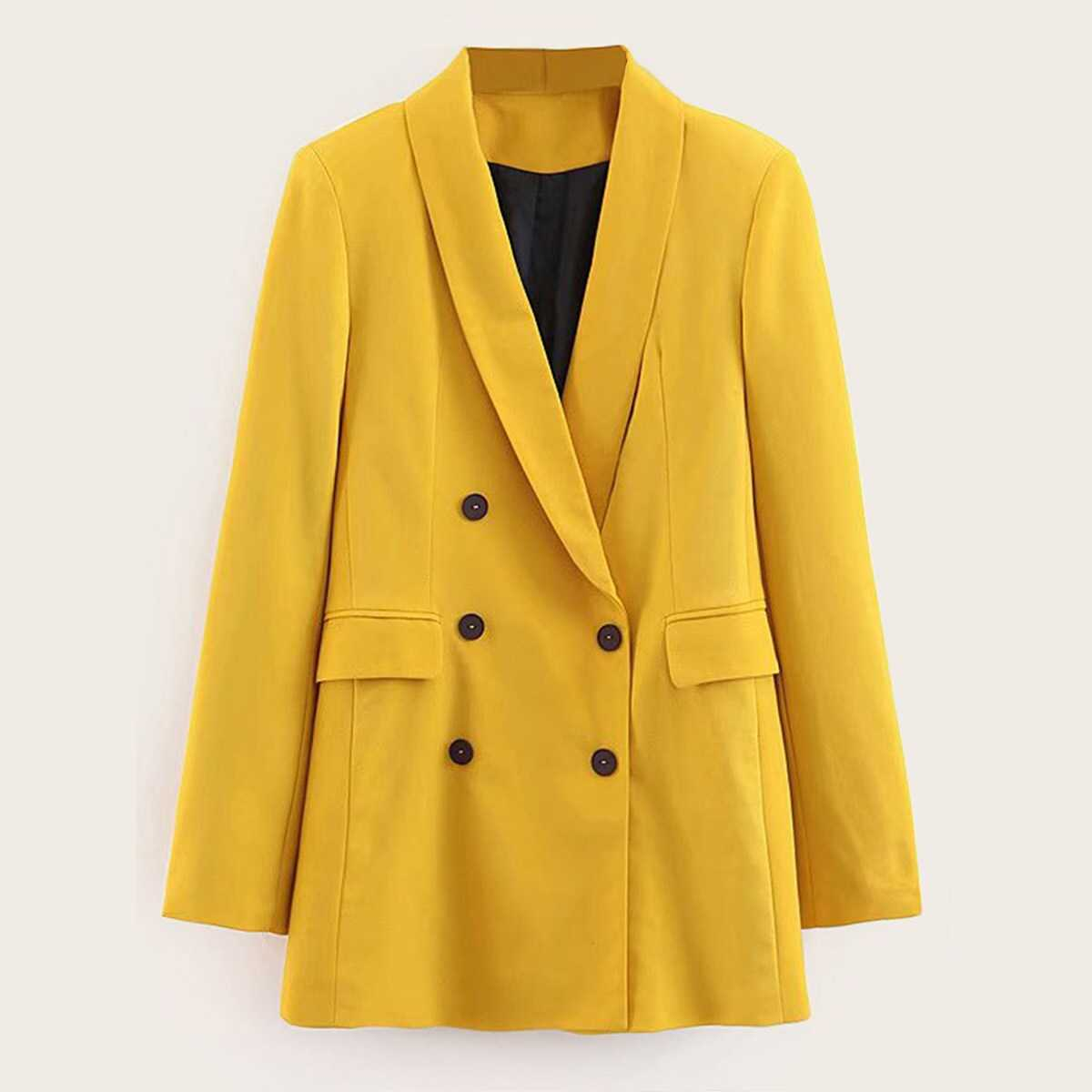 Double Breasted Solid Blazer - Shein - GOOFASH