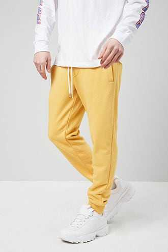 Drawstring French Terry Joggers at Forever 21 Mustard - GOOFASH