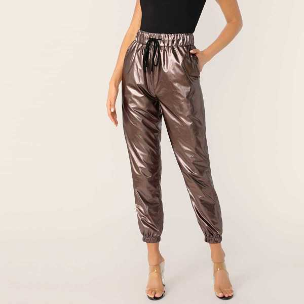 Drawstring Waist Leather Look Peg Pants - Shein - GOOFASH