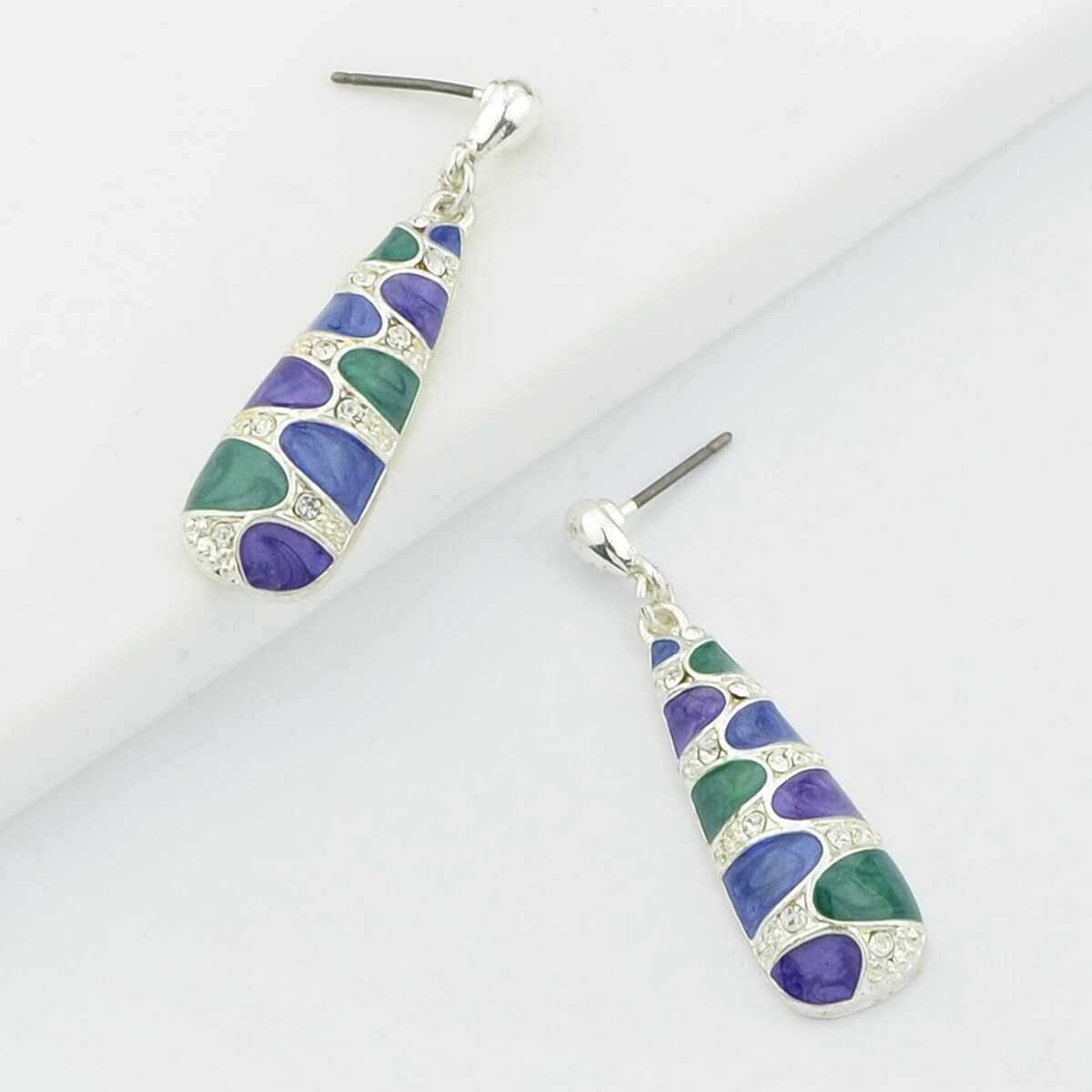 Enamel Dangle Earrings Female Accessories From India - Shein - GOOFASH