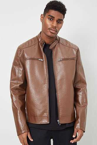 Faux Leather Moto Jacket at Forever 21  Brown - GOOFASH
