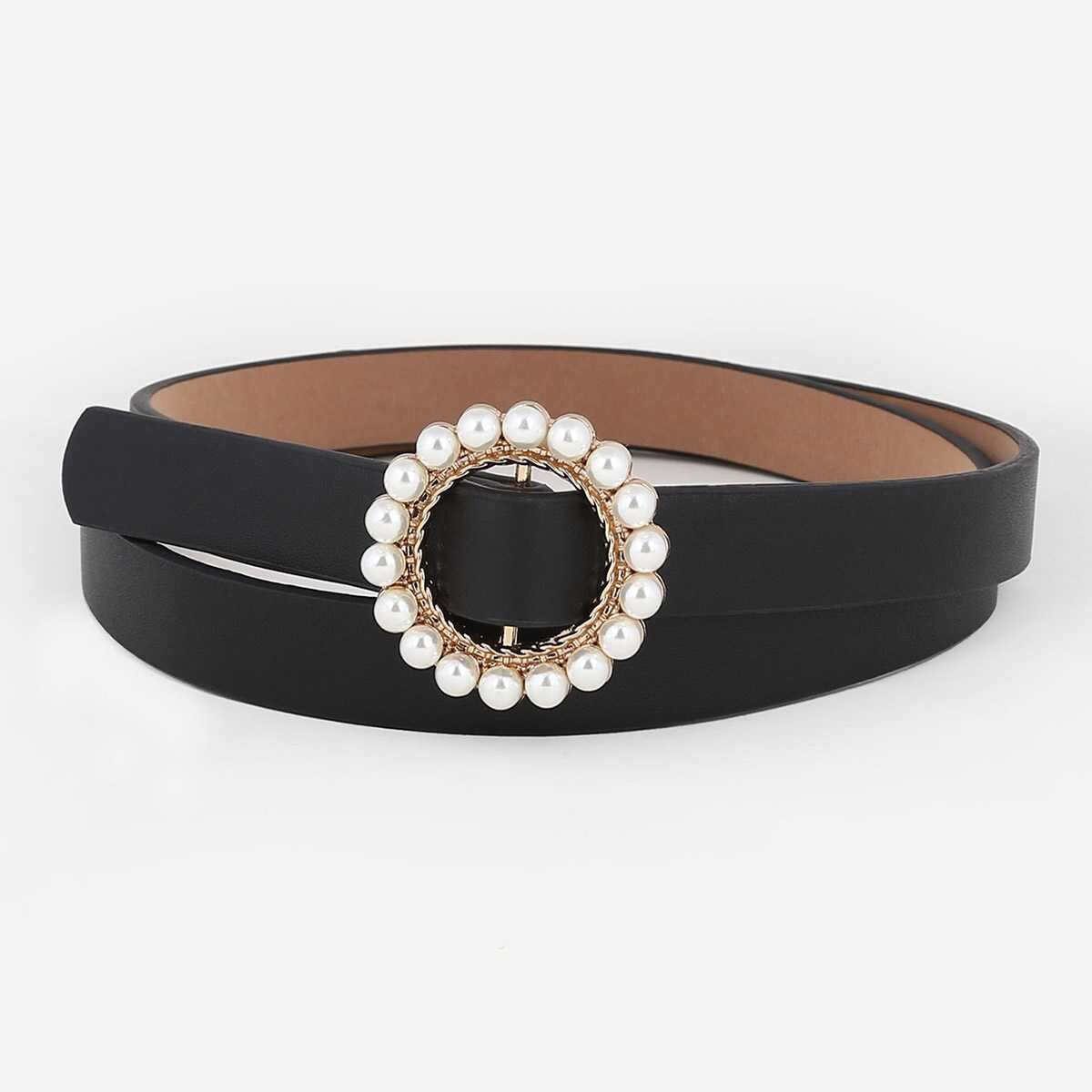 Faux Pearl Decorated Buckle Belt - Shein - GOOFASH