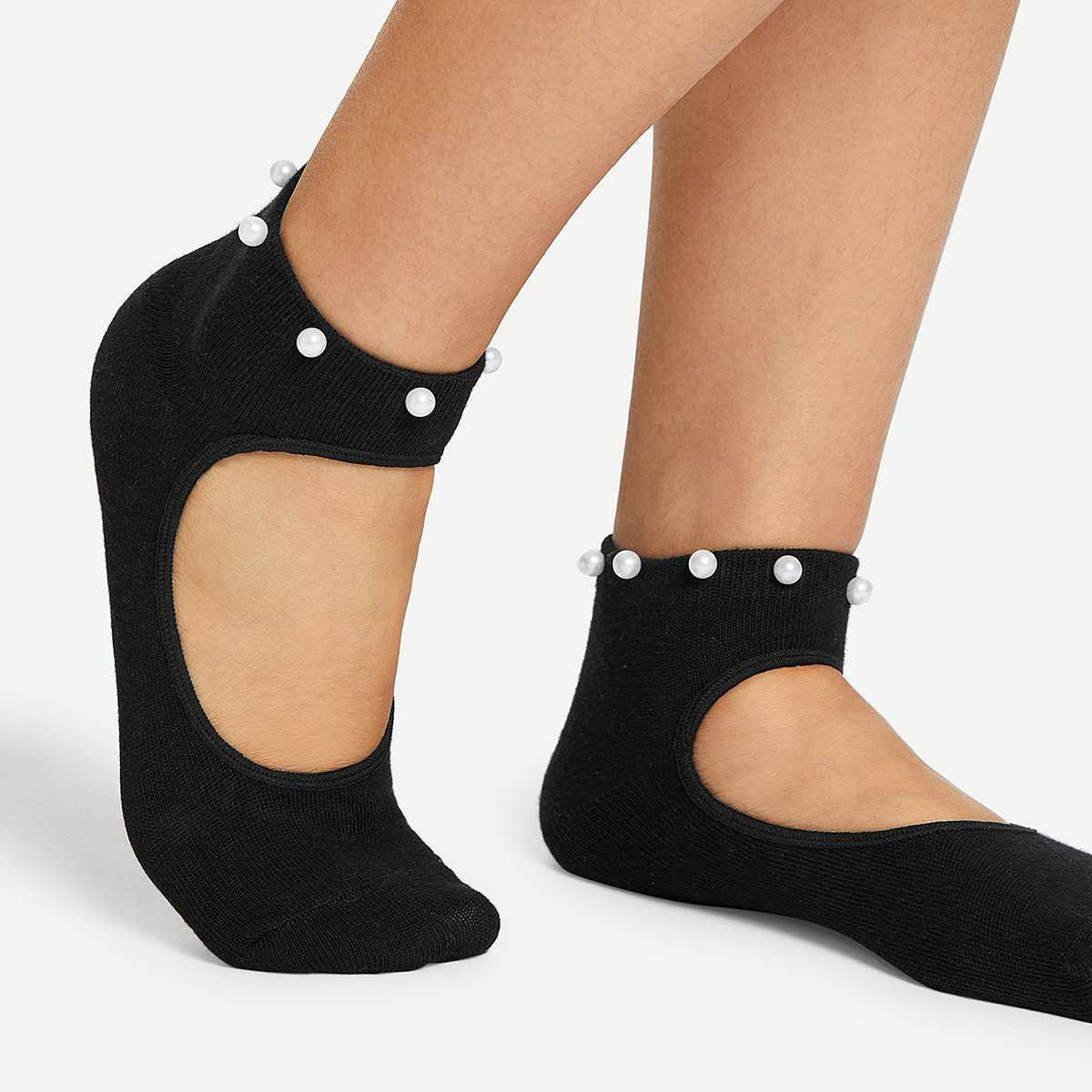 Faux Pearl Decorated Cut Out Socks - Shein - GOOFASH