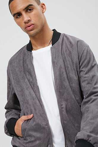 Faux Suede Zip-Up Bomber Jacket at Forever 21  Grey - GOOFASH