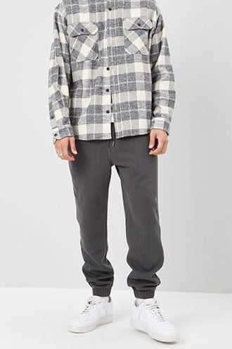Fleece Ribbed-Trim Joggers at Forever 21  Grey - GOOFASH
