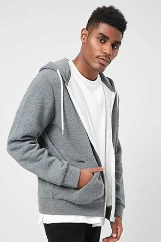 Fleece Zippered Hoodie at Forever 21  Charcoal - GOOFASH