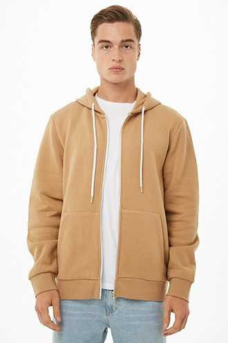 Fleece Zippered Hoodie at Forever 21  Taupe - GOOFASH