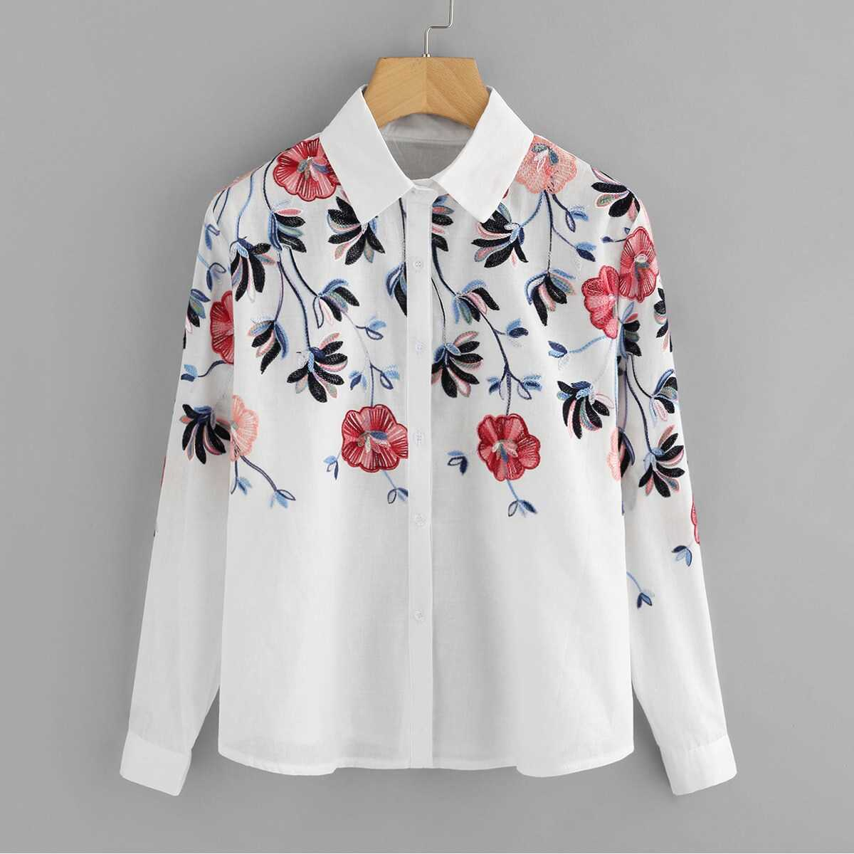 Floral Embroidery Button Front Blouse - Shein - GOOFASH