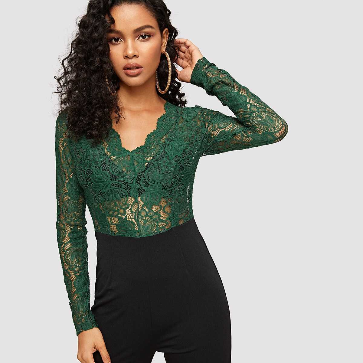 Floral Lace Bodice Two Tone Jumpsuit Without Bra - Shein - GOOFASH