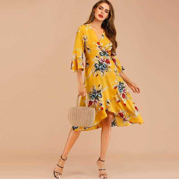 Floral Print Knot Wrap Dress - Shein - GOOFASH