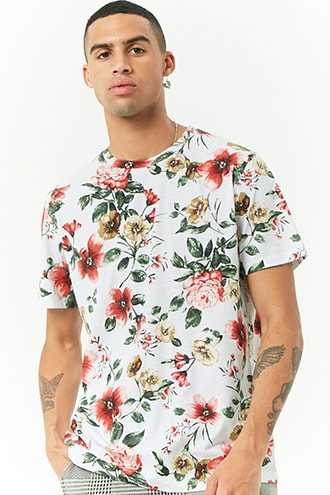 Floral Print Tee at Forever 21 White/pink - GOOFASH